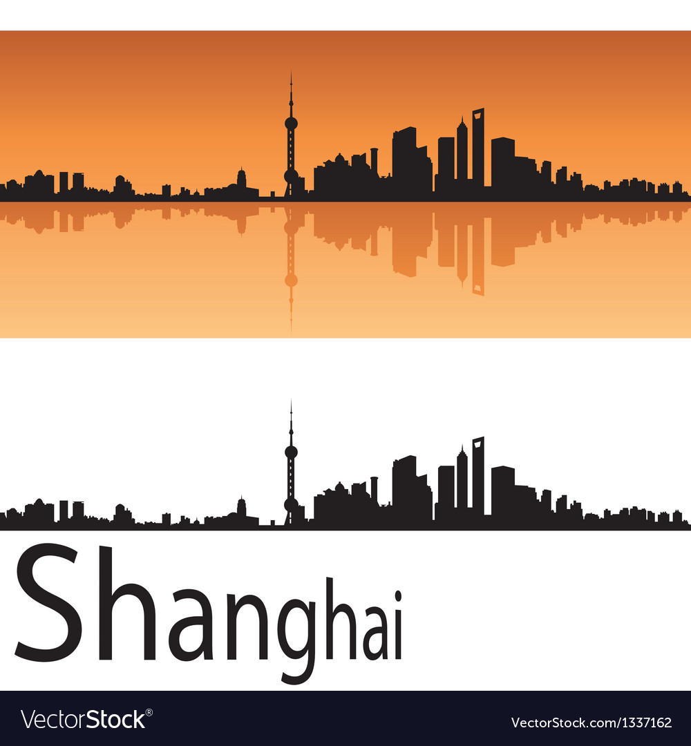 Shanghai skyline in orange background vector | Price: 1 Credit (USD $1)