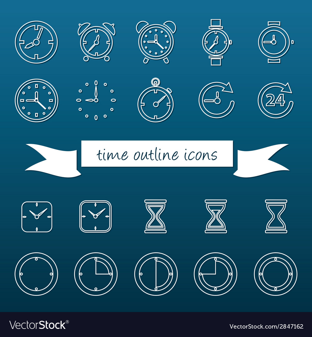 Time outline icons vector | Price: 1 Credit (USD $1)