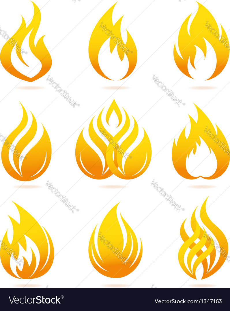Fire icons set vector | Price: 1 Credit (USD $1)