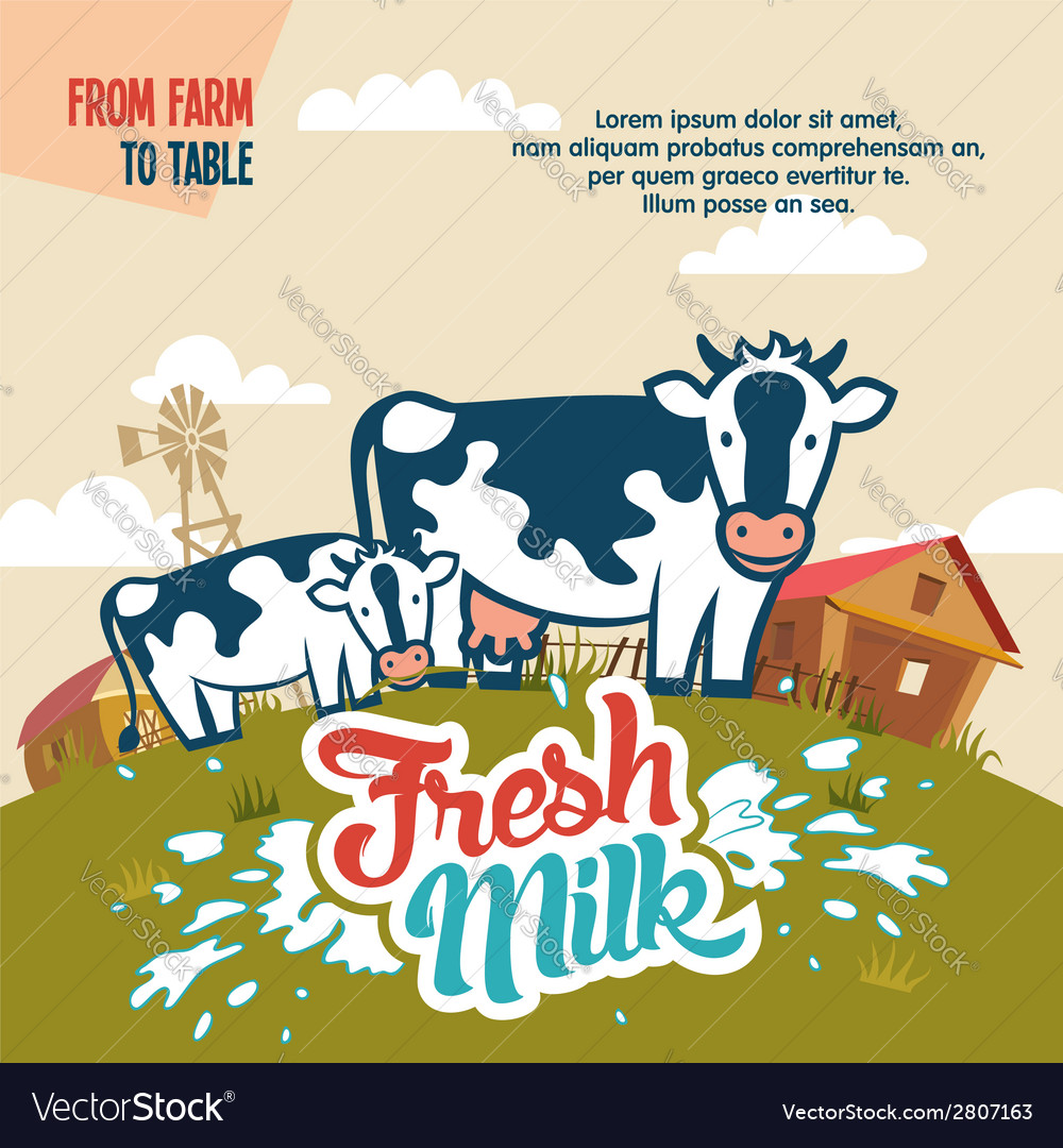 Fresh milk from farm to table vector | Price: 1 Credit (USD $1)