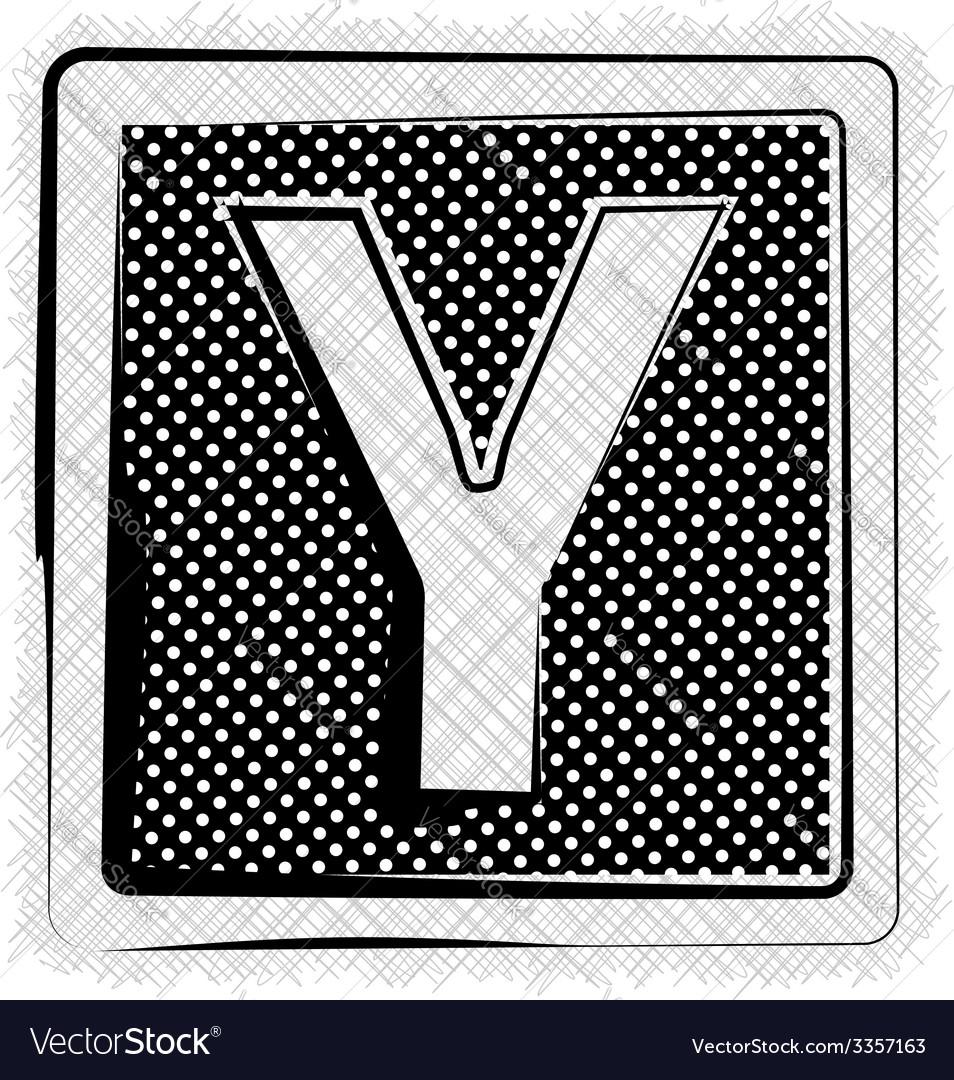 Polka dot font letter y vector | Price: 1 Credit (USD $1)