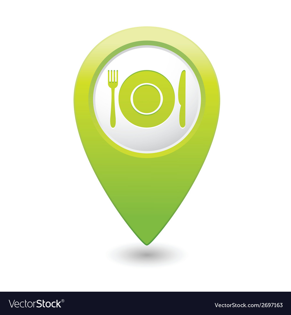Restaurant icon green map pointer vector | Price: 1 Credit (USD $1)