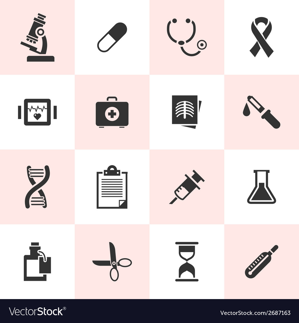Set of black medical icons vector | Price: 1 Credit (USD $1)