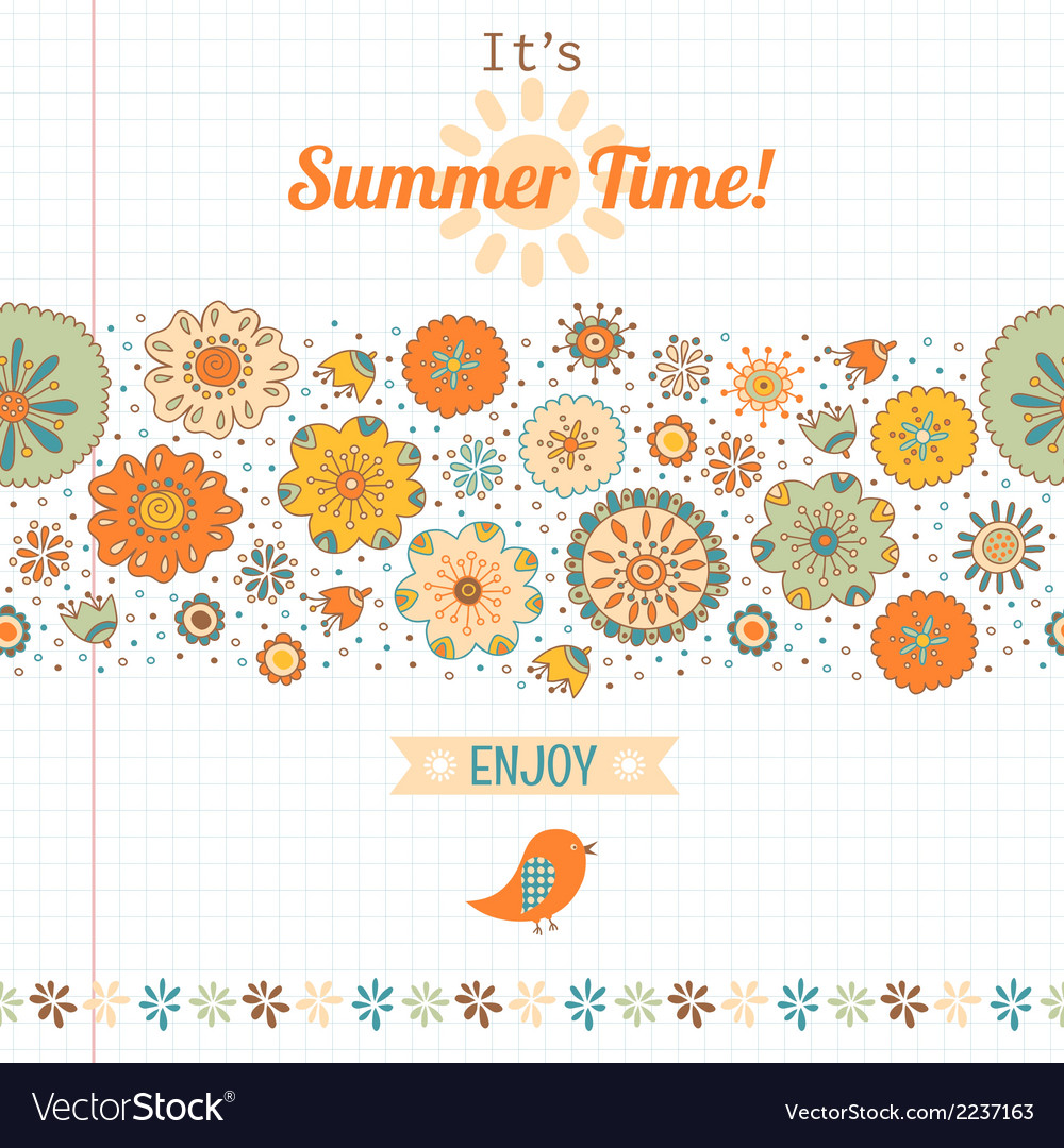 Summer set flowers and labels banner vector | Price: 1 Credit (USD $1)