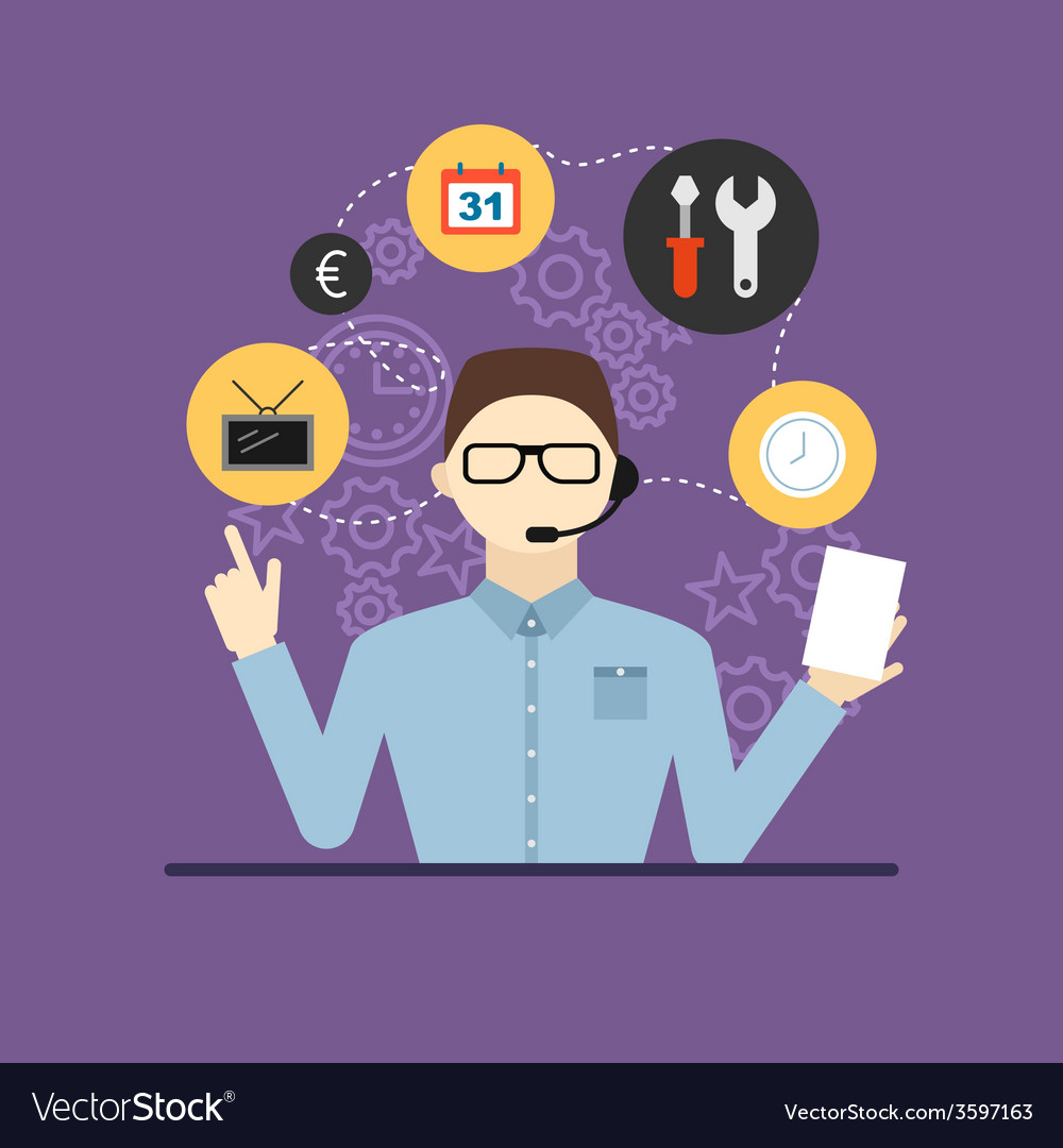 Technical support assistant man flat design vector | Price: 1 Credit (USD $1)
