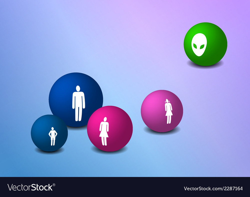 Balls with family silhouettes vector | Price: 1 Credit (USD $1)