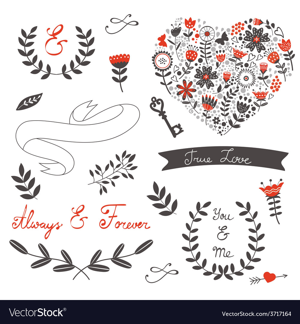 Beautiful love set vector | Price: 1 Credit (USD $1)
