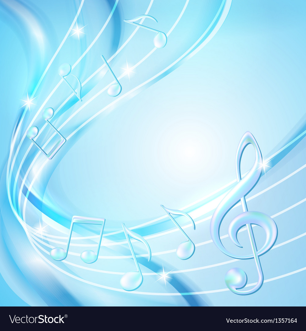 Blue abstract notes music background vector | Price: 1 Credit (USD $1)