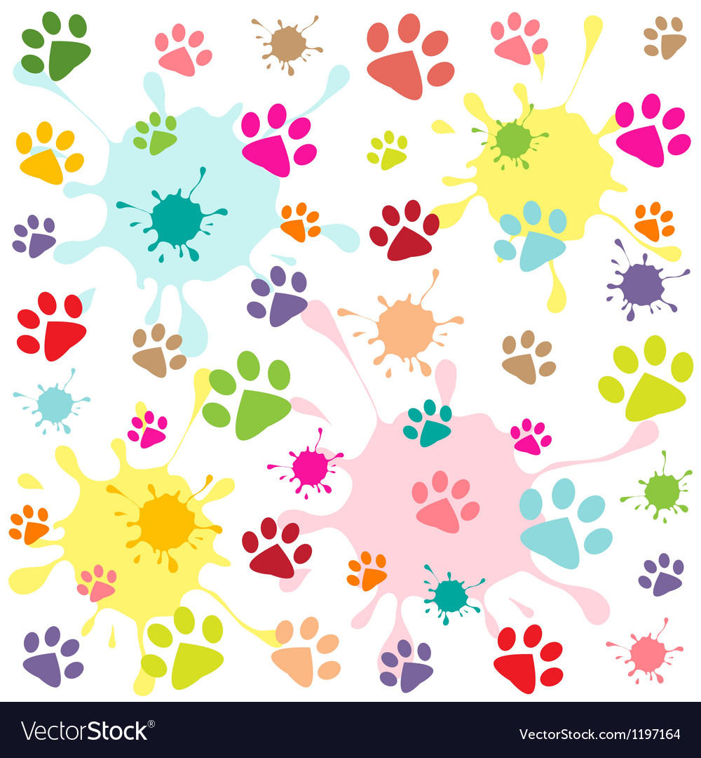 Colored pattern with paw prints and blots vector | Price: 1 Credit (USD $1)