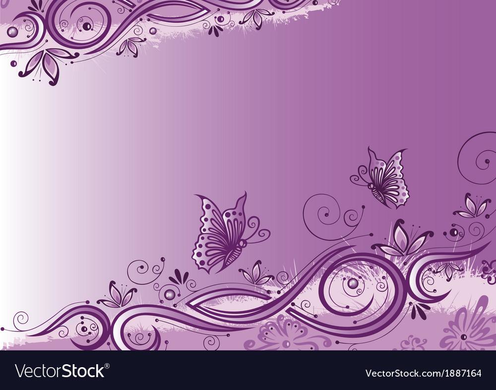 Flowers butterflies background vector