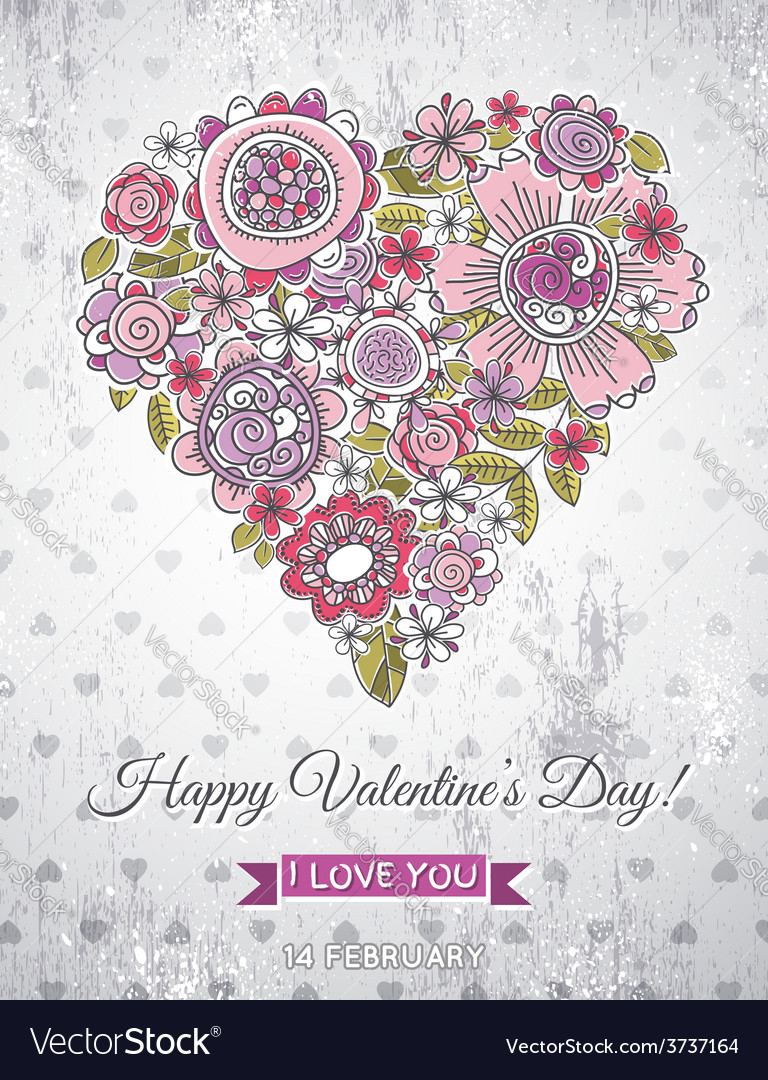 Grey background with valentine heart vector | Price: 1 Credit (USD $1)