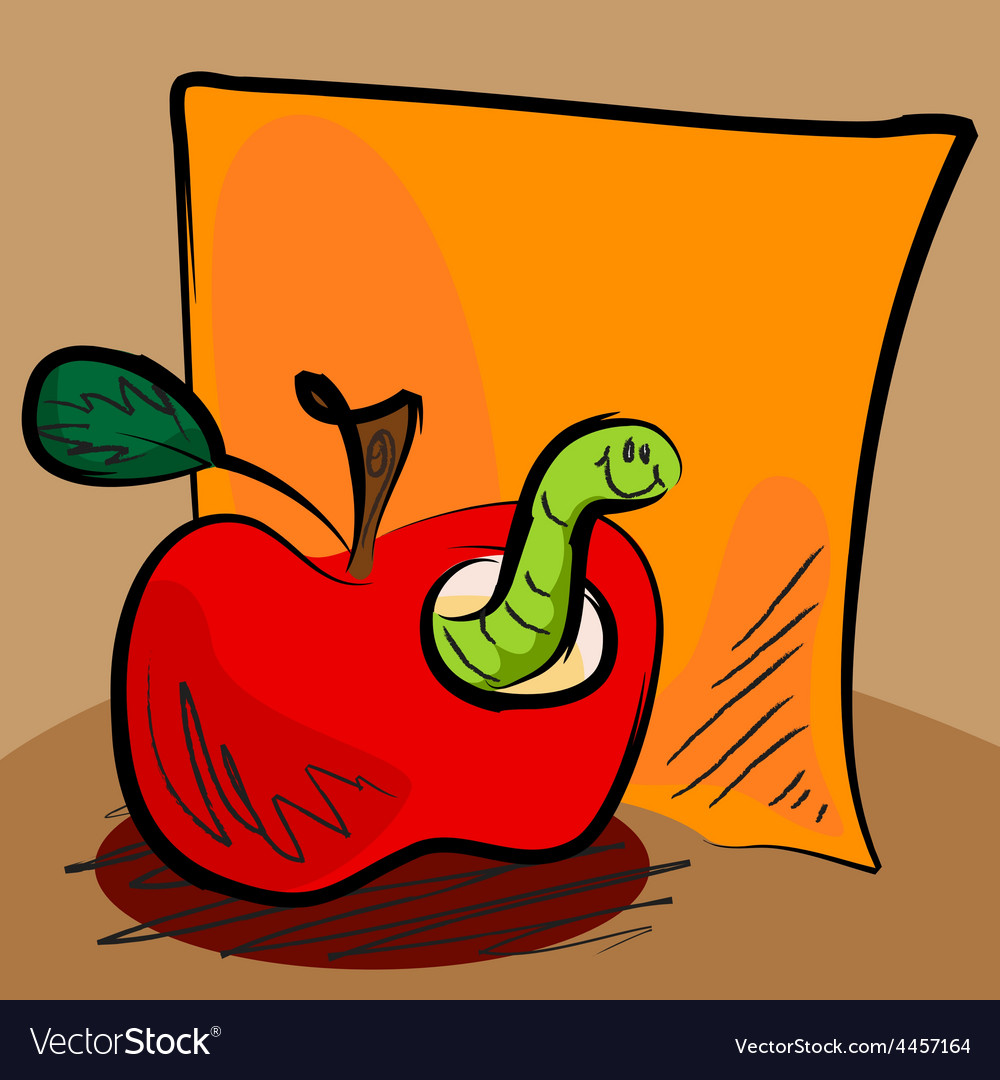 Grungy apple worm cartoon with sticky vector | Price: 1 Credit (USD $1)