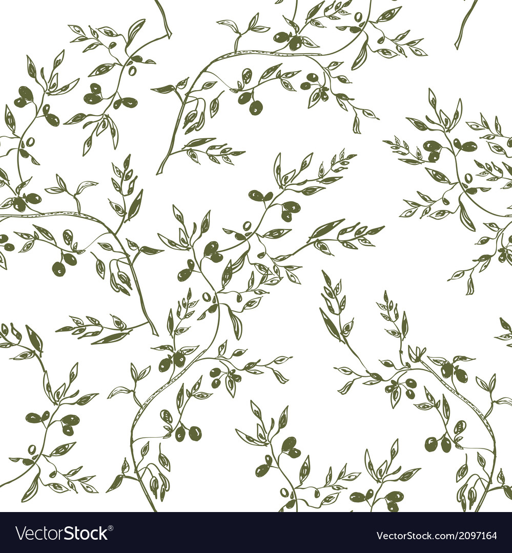 Seamless olive branch pattern hand drawn vector | Price: 1 Credit (USD $1)