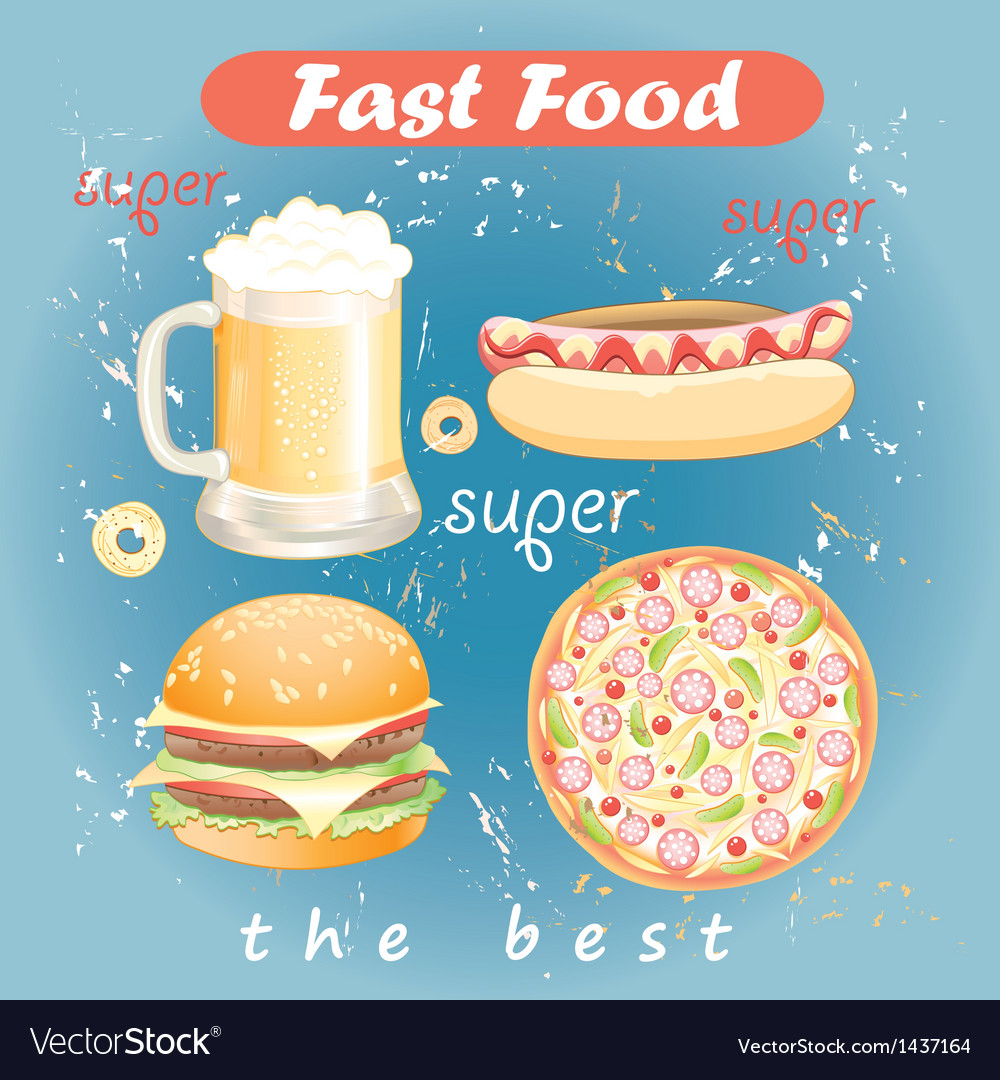 Set of food and drink fast food vector | Price: 3 Credit (USD $3)