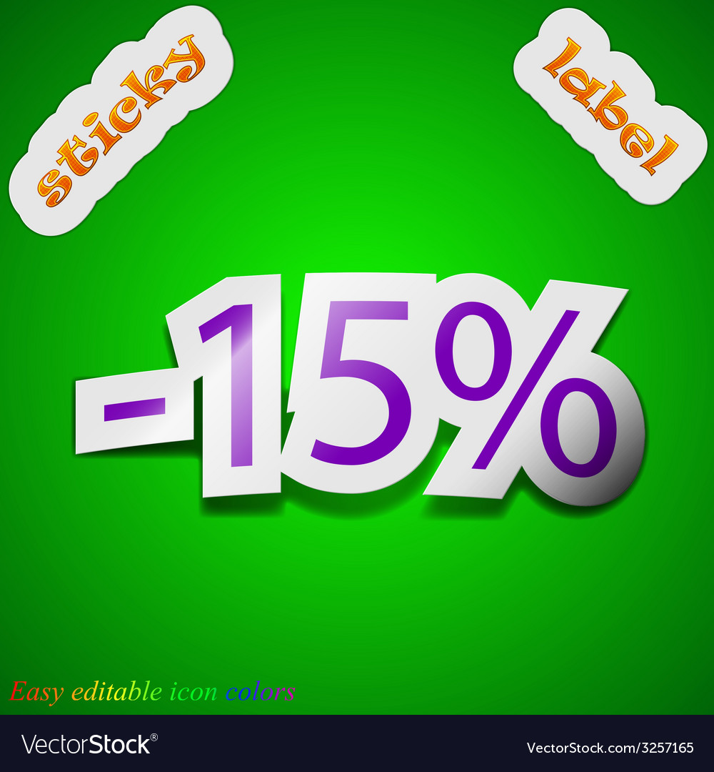 15 percent discount icon sign symbol chic colored vector | Price: 1 Credit (USD $1)