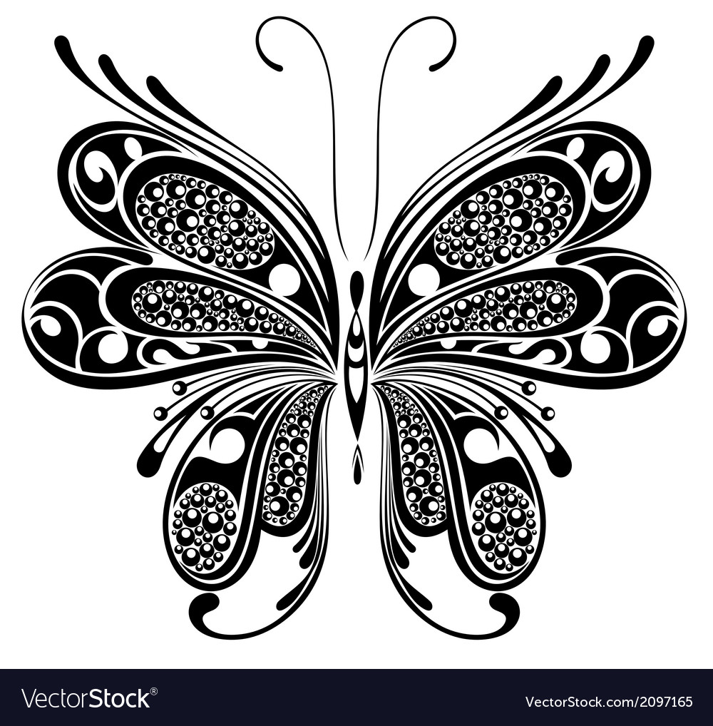 Black butterfly vector | Price: 1 Credit (USD $1)