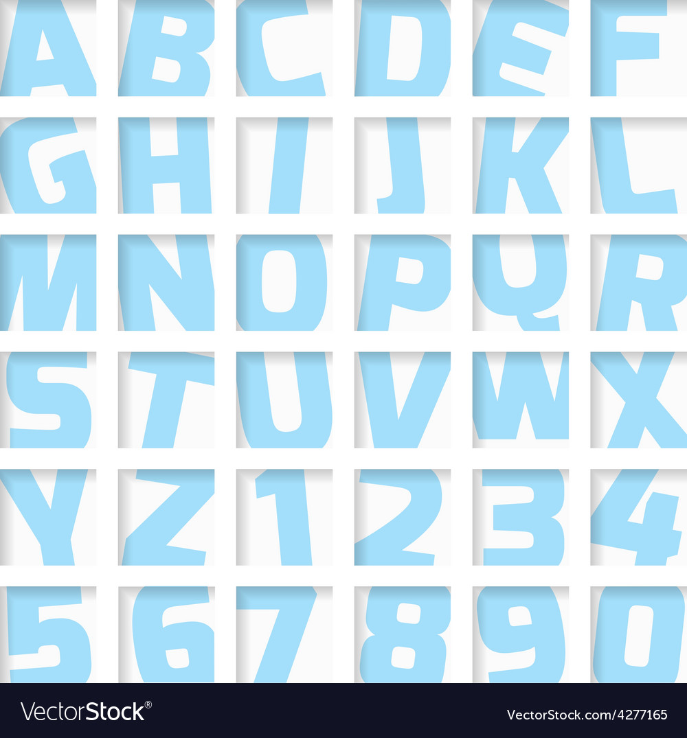 Blue letters and numbers vector