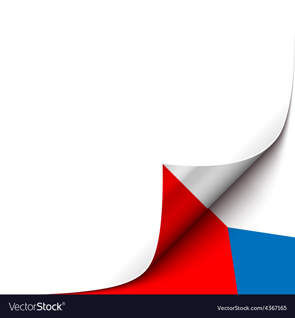 Curled up paper corner on czech flag background vector | Price: 1 Credit (USD $1)