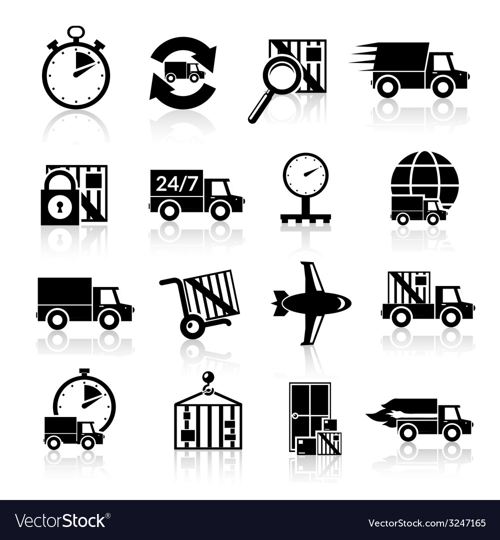 Delivery icons set black vector | Price: 1 Credit (USD $1)