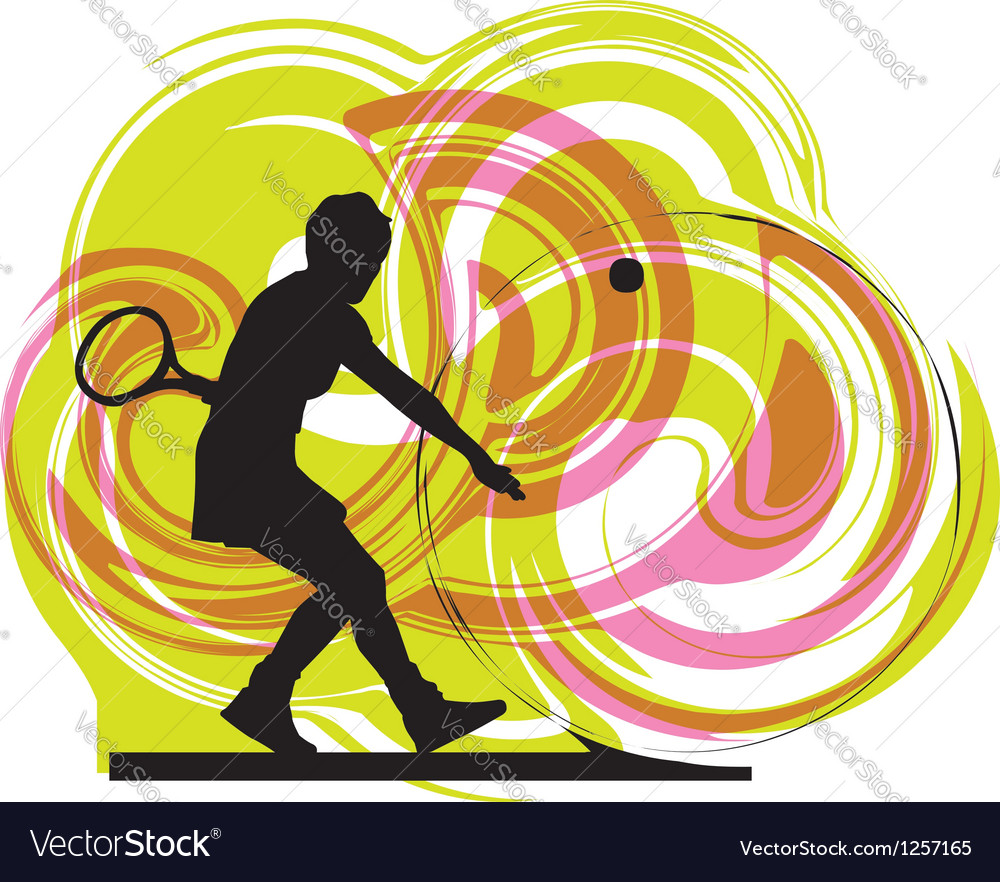 Drawing of woman playing tennis vector | Price: 1 Credit (USD $1)