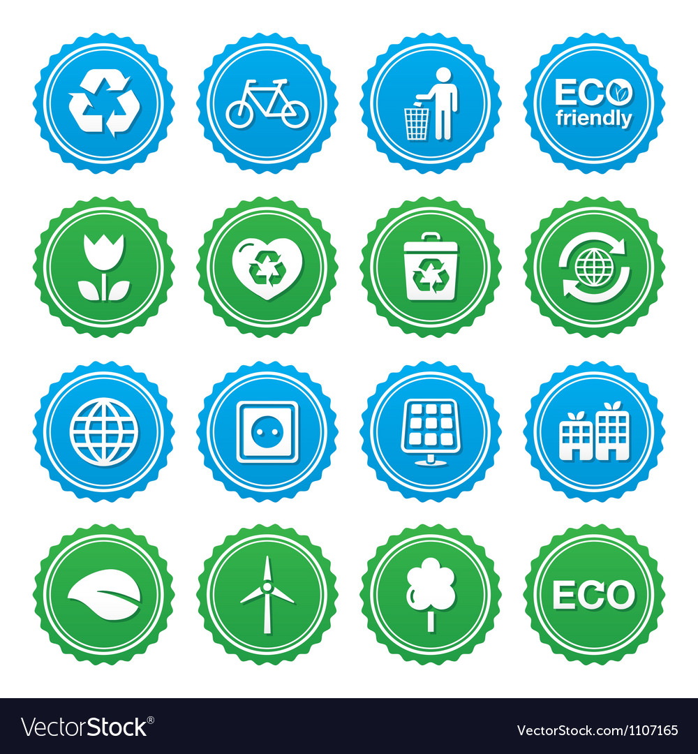 Eco green labels set - ecology recycling vector | Price: 1 Credit (USD $1)