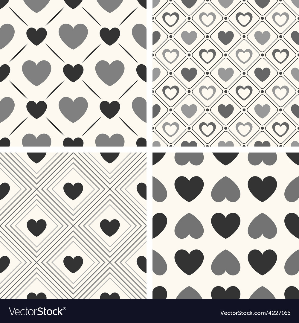 Heart shape seamless patterns black and vector | Price: 1 Credit (USD $1)