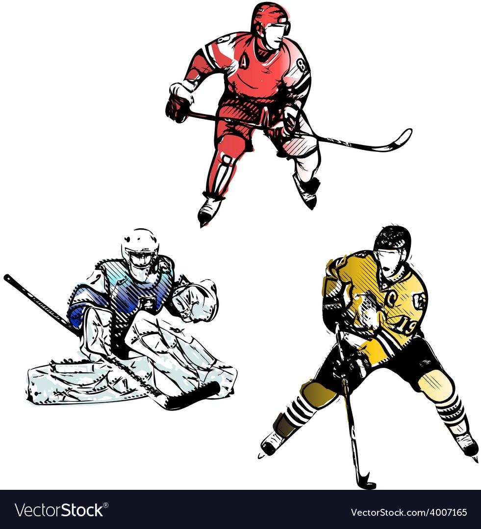 Hockey trio vector | Price: 3 Credit (USD $3)