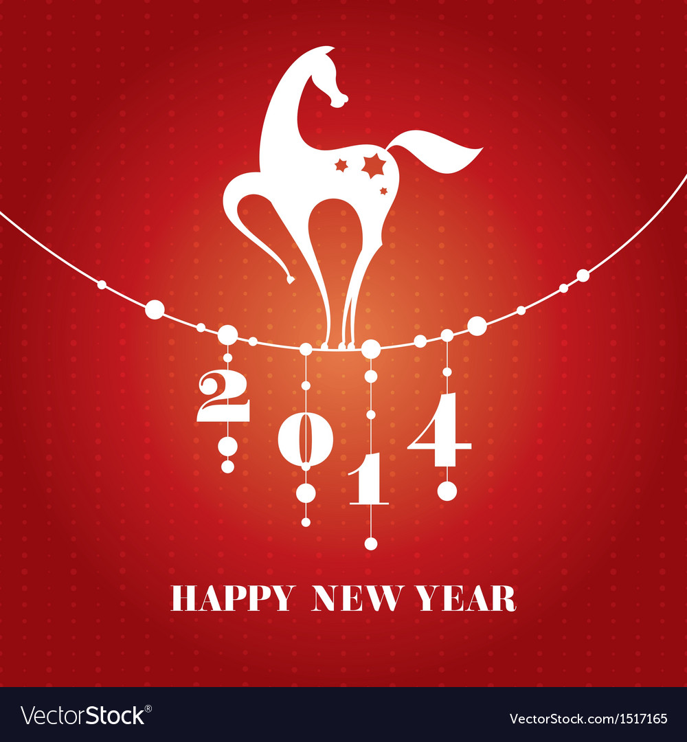 New year card with horse vector | Price: 1 Credit (USD $1)