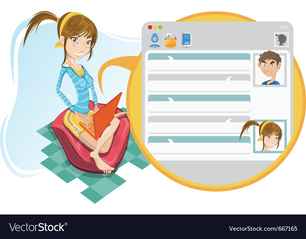 Online social media girl chatting vector | Price: 5 Credit (USD $5)