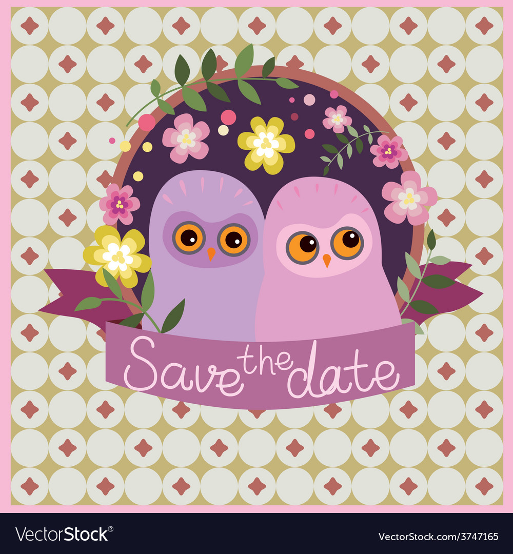 Save the date design with owls vector | Price: 1 Credit (USD $1)