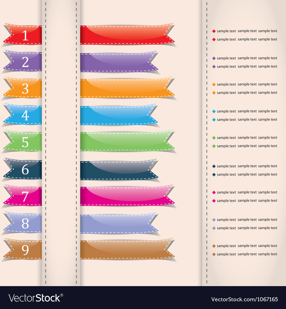 Set of colorful sample ribbons for various vector | Price: 1 Credit (USD $1)