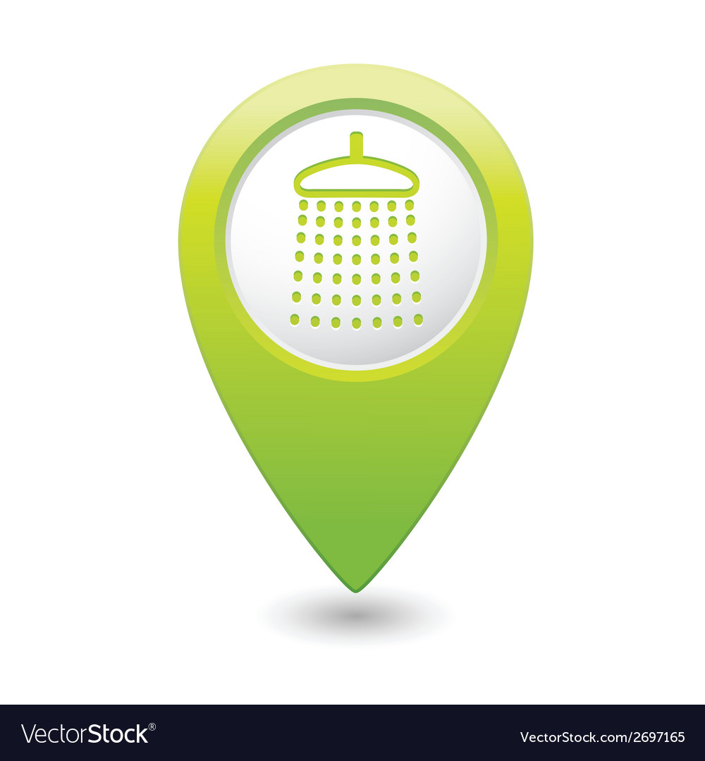 Shower icon green map pointer vector | Price: 1 Credit (USD $1)