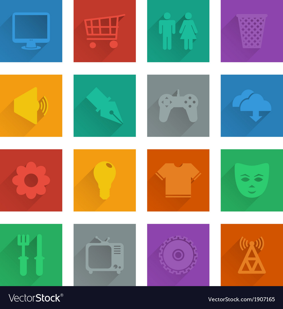 Square media icons set 2 vector | Price: 1 Credit (USD $1)