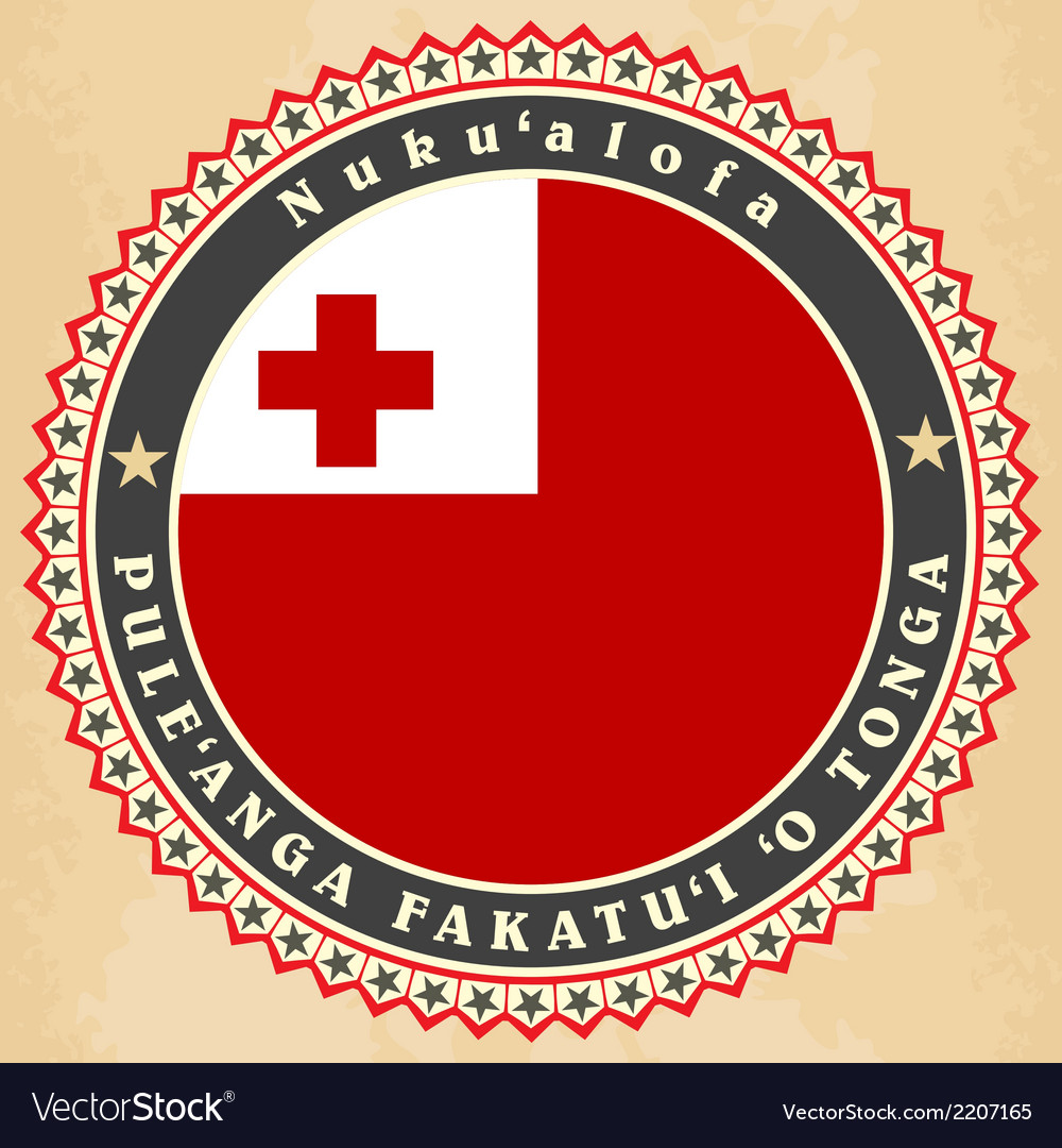 Vintage label cards of kingdom of tonga flag vector | Price: 1 Credit (USD $1)