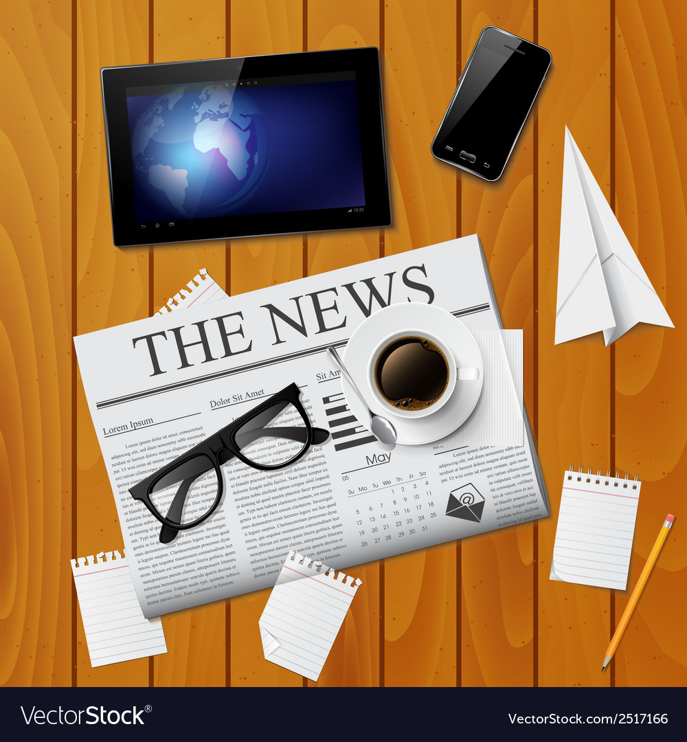 Cup of coffee newspaper tablet smartphone and g vector | Price: 1 Credit (USD $1)