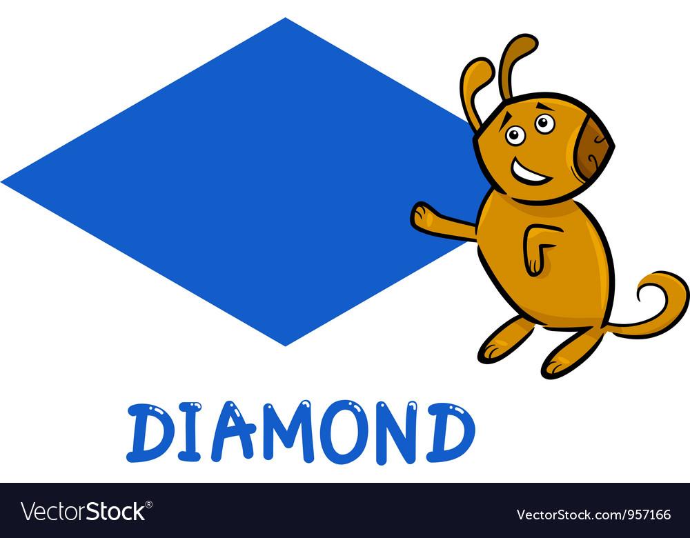Diamond shape with cartoon dog vector   Price: 1 Credit (USD $1)