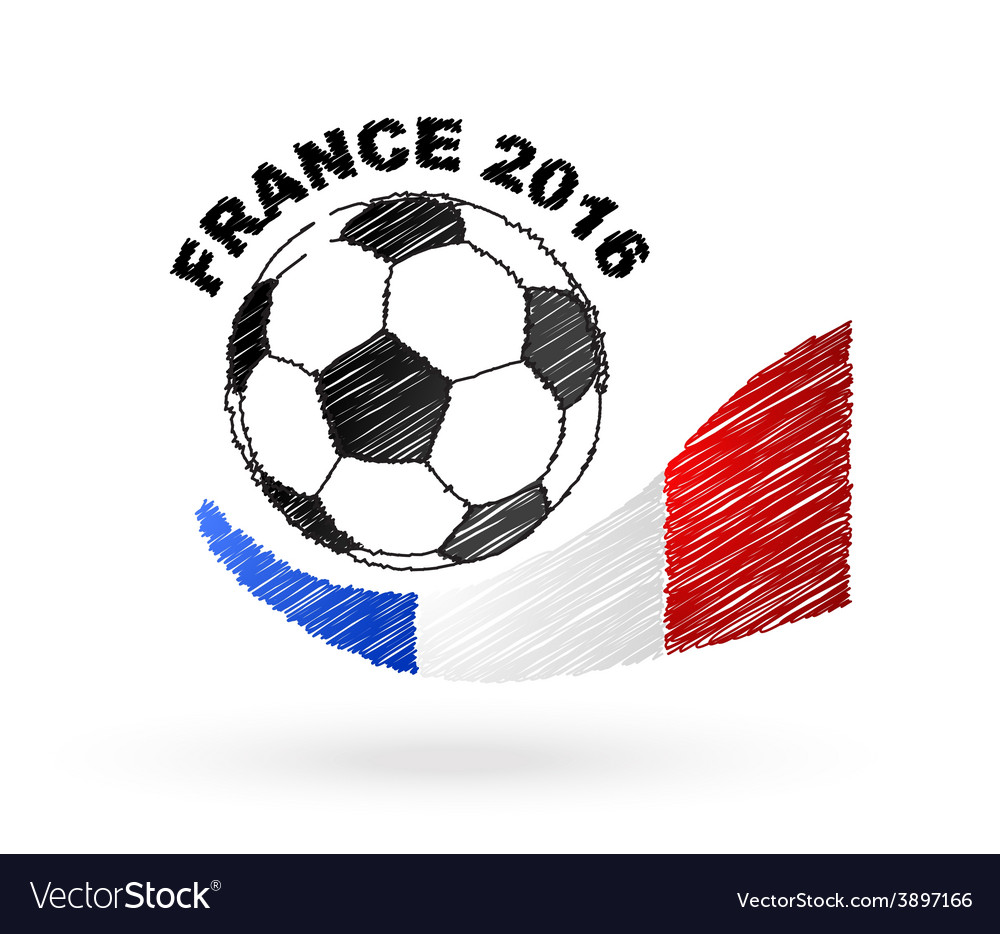 Football ball with france flag scribble effect vector | Price: 1 Credit (USD $1)