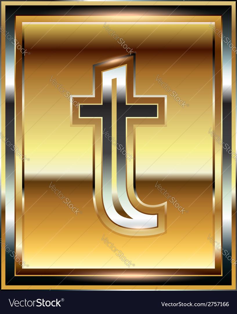 Ingot font letter t vector | Price: 1 Credit (USD $1)