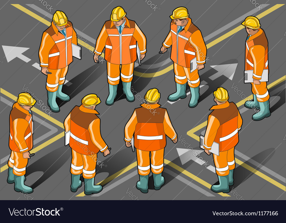 Isometric foreman in eight positions vector | Price: 5 Credit (USD $5)