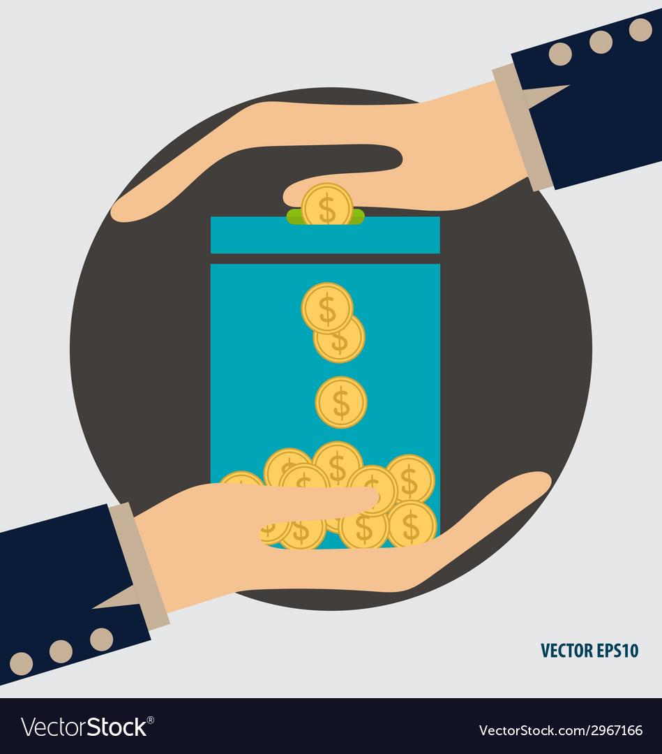 Money on hand modern flat design concept vector | Price: 1 Credit (USD $1)