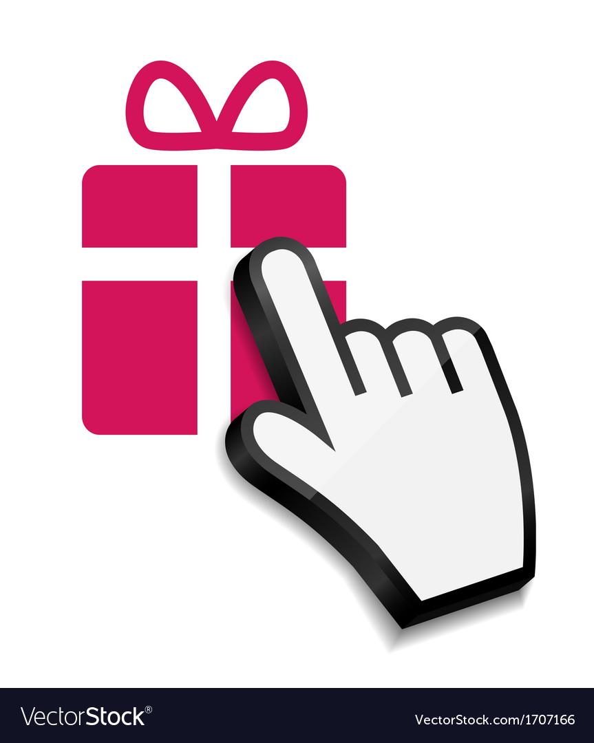 Mouse hand cursor on gift vector | Price: 1 Credit (USD $1)