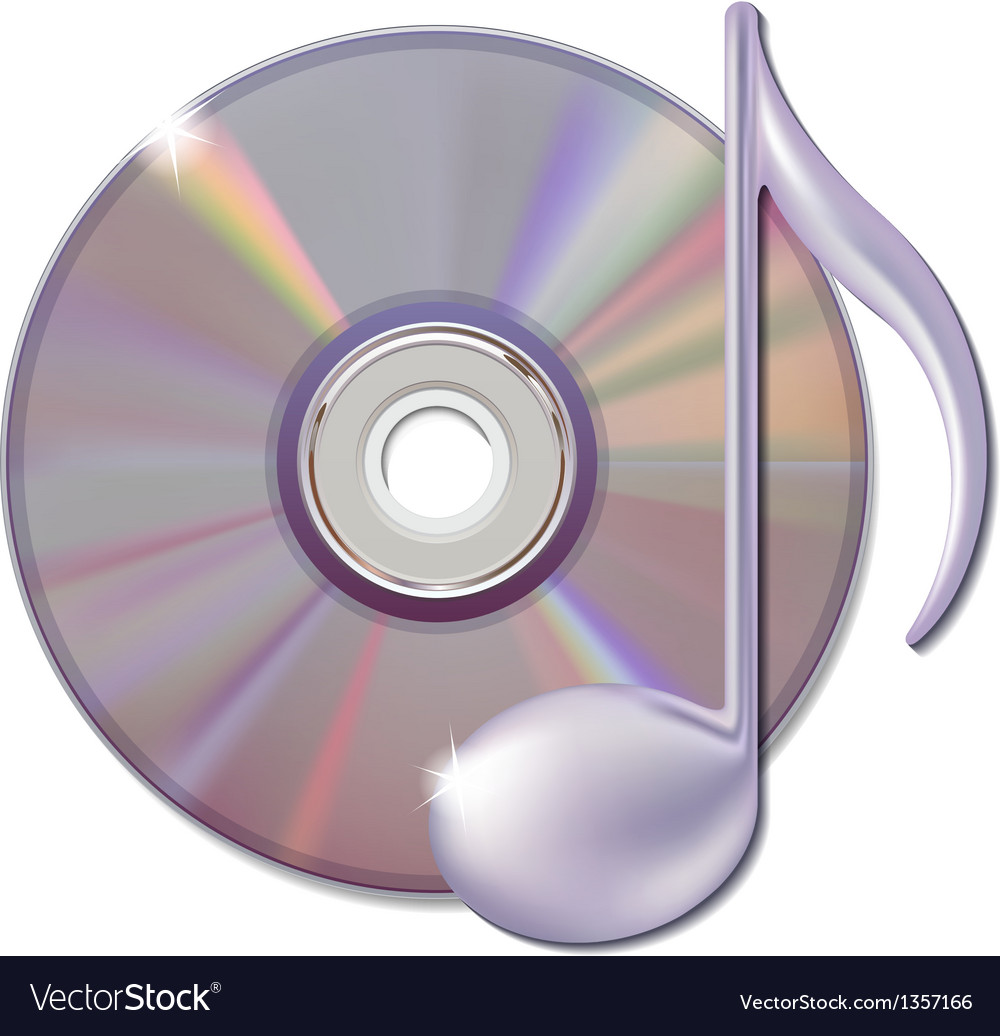 Musical note and cd disk - music icon vector | Price: 1 Credit (USD $1)
