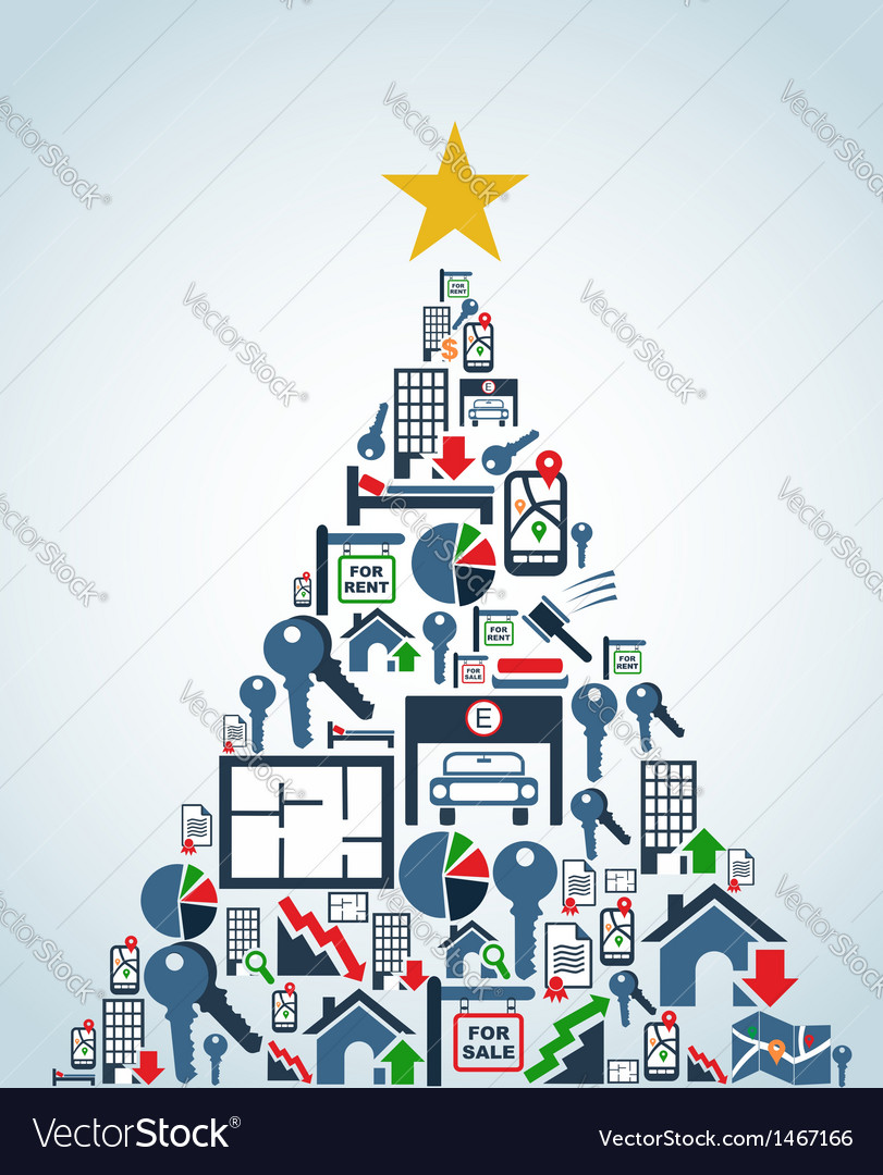 Real estate industry icons christmas tree vector | Price: 1 Credit (USD $1)