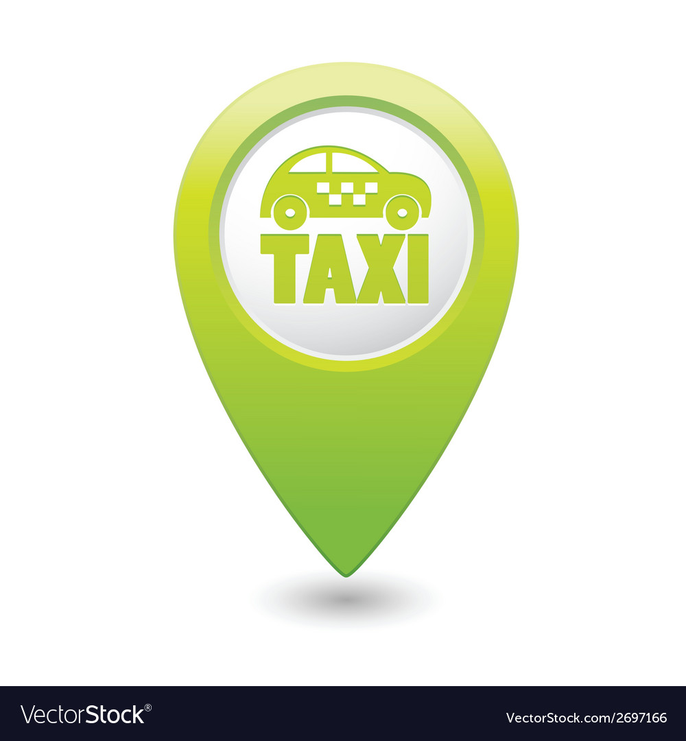 Taxi icon green map pointer vector   Price: 1 Credit (USD $1)