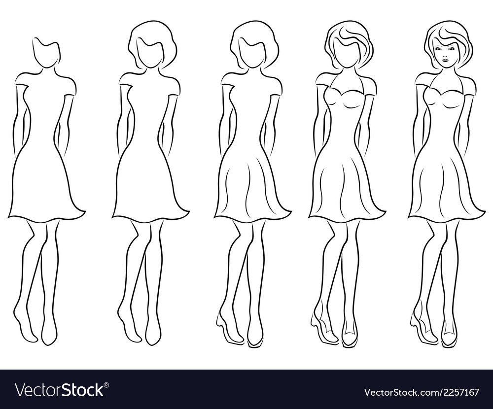Beautiful women contour in drawing sequence vector | Price: 1 Credit (USD $1)