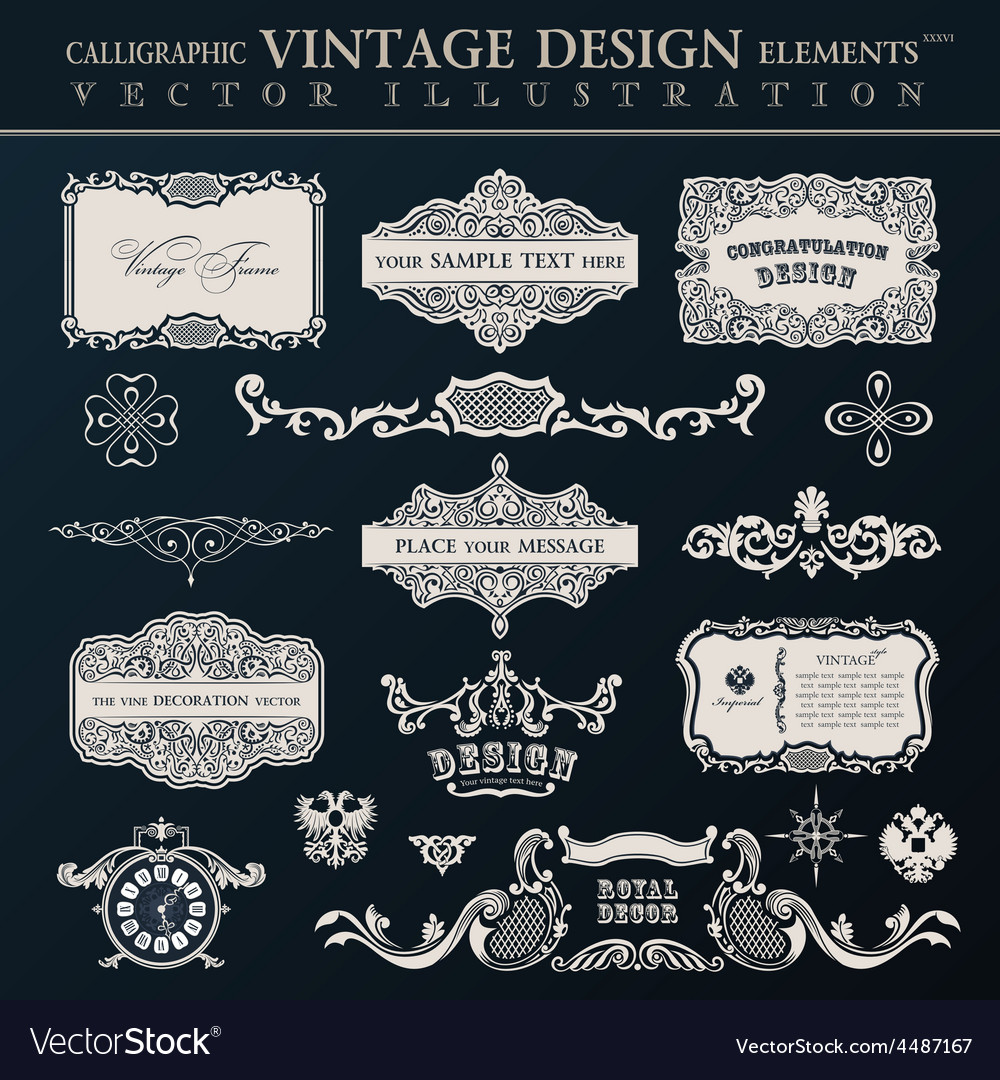 Calligraphic vintage elements and page decor vector | Price: 1 Credit (USD $1)