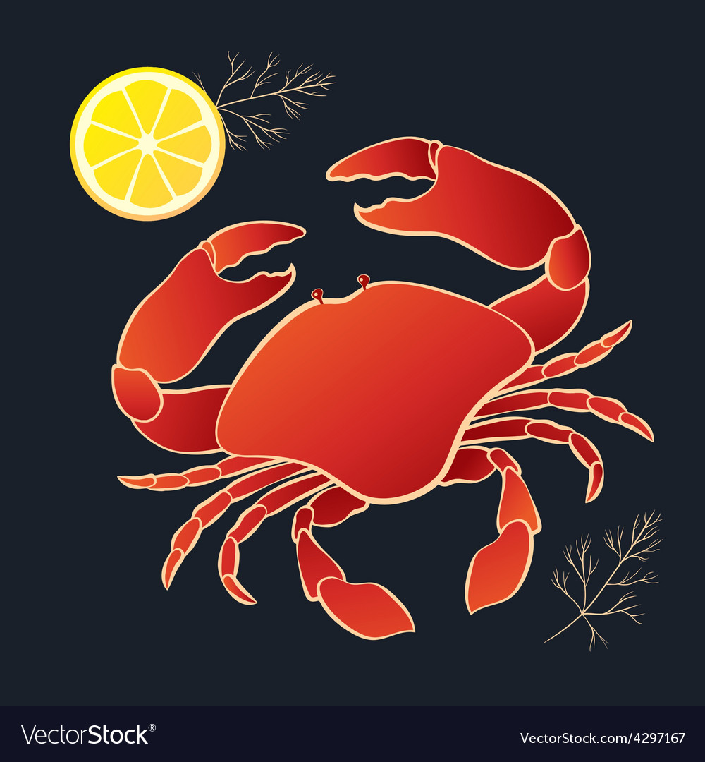 Crab with lemon and dill vector | Price: 1 Credit (USD $1)