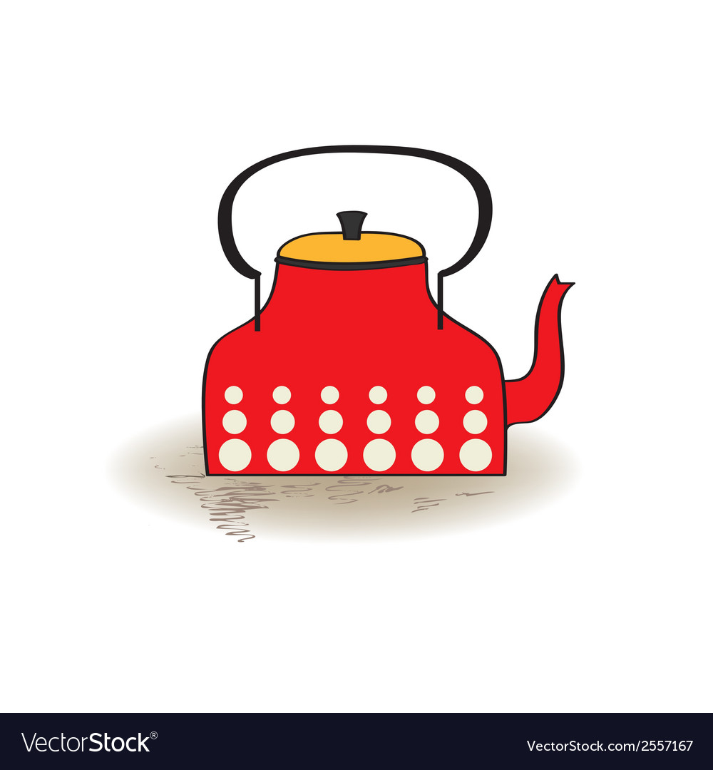 Old red kettle vector | Price: 1 Credit (USD $1)