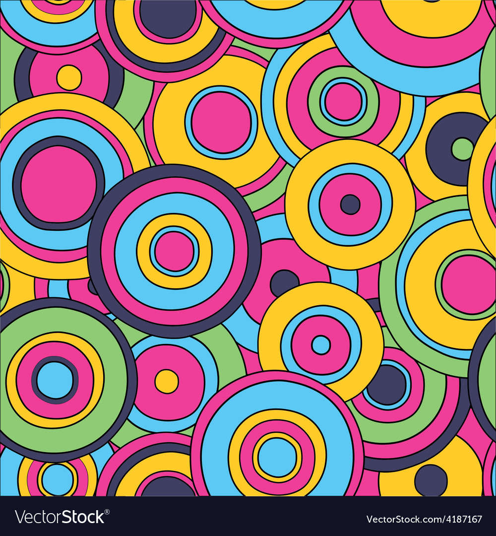 Psychedelic circles seamless pattern vector | Price: 1 Credit (USD $1)