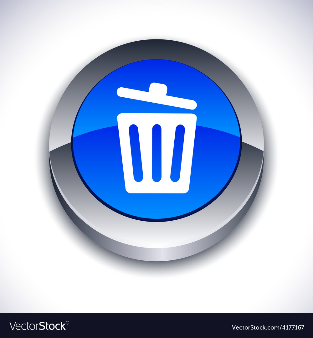 Recycle bin 3d button vector | Price: 1 Credit (USD $1)